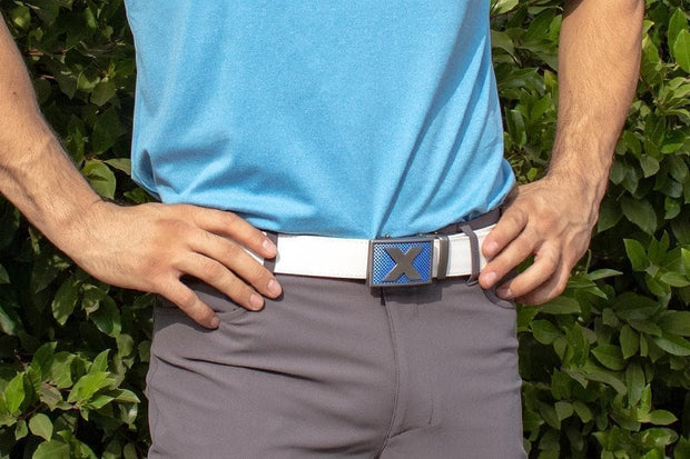 "Nexbelt Golf Belt Fits up to 45"" waist / White Lucky Blue X Factor"