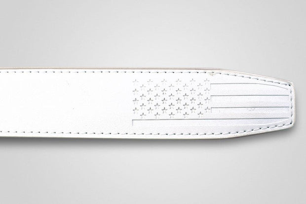 "Nexbelt Belt Straps Fits up to 45"" waist / White USA Debossed White Strap"
