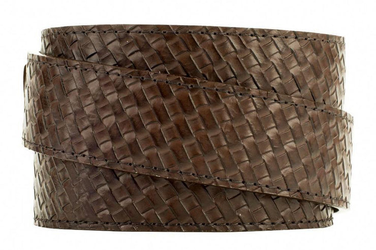 Go-In Basket Weave Brown Ratchet Golf Belt