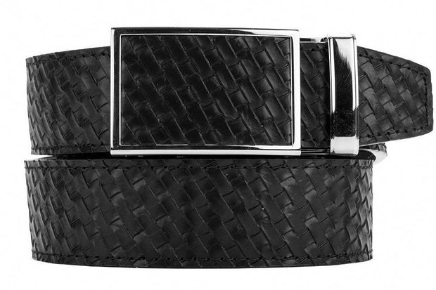 "Nexbelt Belt Black / Fits up to 45"" waist Go-In Basket Weave Black Ratchet Golf Belt"
