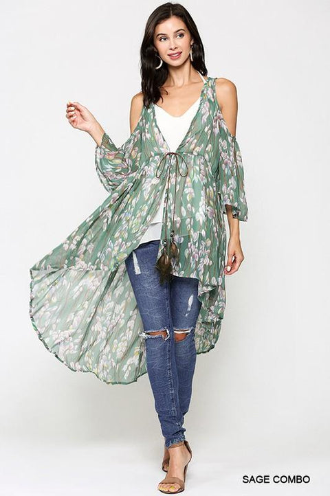 Secret Getaway Cold Shoulder Kimono, Sage-Forget Me Not Boutique-Forget Me Not Boutique