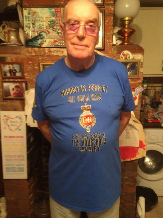 Nobody is Perfect - Household Cavalry Veteran Showing off his new Tee