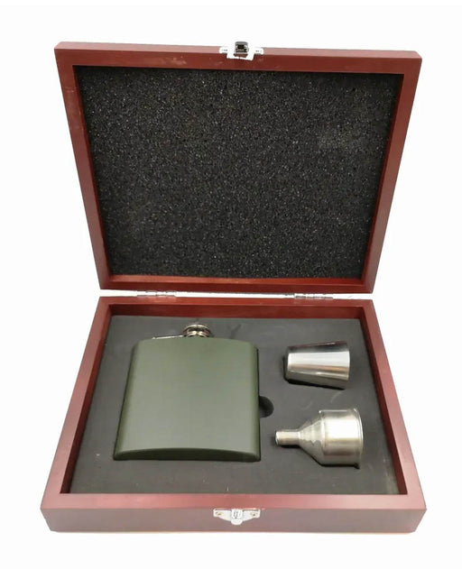 Armed Forces Engraved 6oz Hip Flask Set in Wooden Case