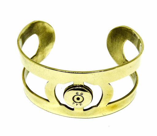 Unisex Curved Brass Bullet Cuff Bangle