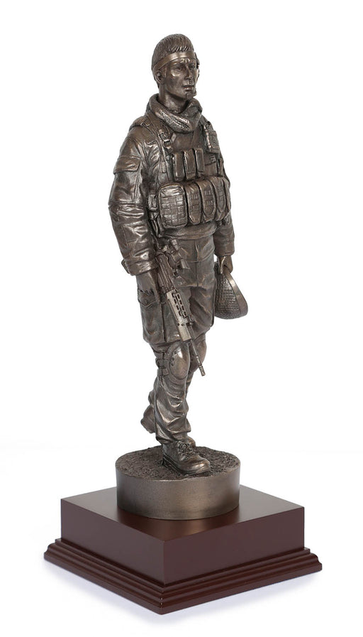 British Soldier With SA80 Cold Cast Bronze Statue