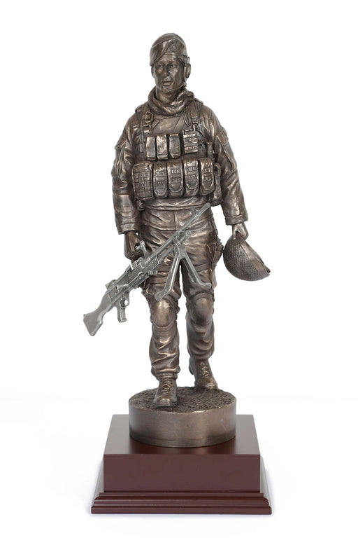 ROYAL MARINE With Pewter GPMG Cold Cast Bronze Statue