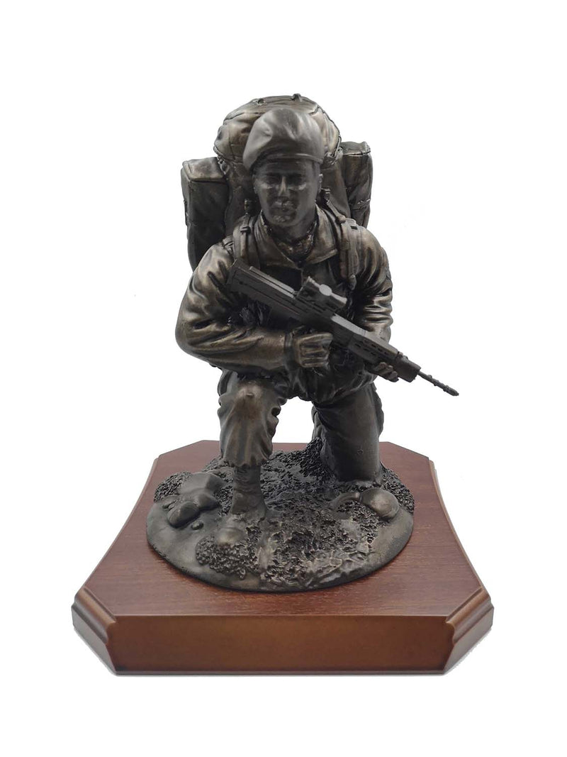 British Soldier Kneeling with Beret or Helmet Cold Cast Bronze Figurine