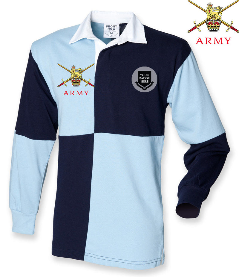 BRITISH ARMY UNITS Quartered Long Sleeve Rugby Shirt