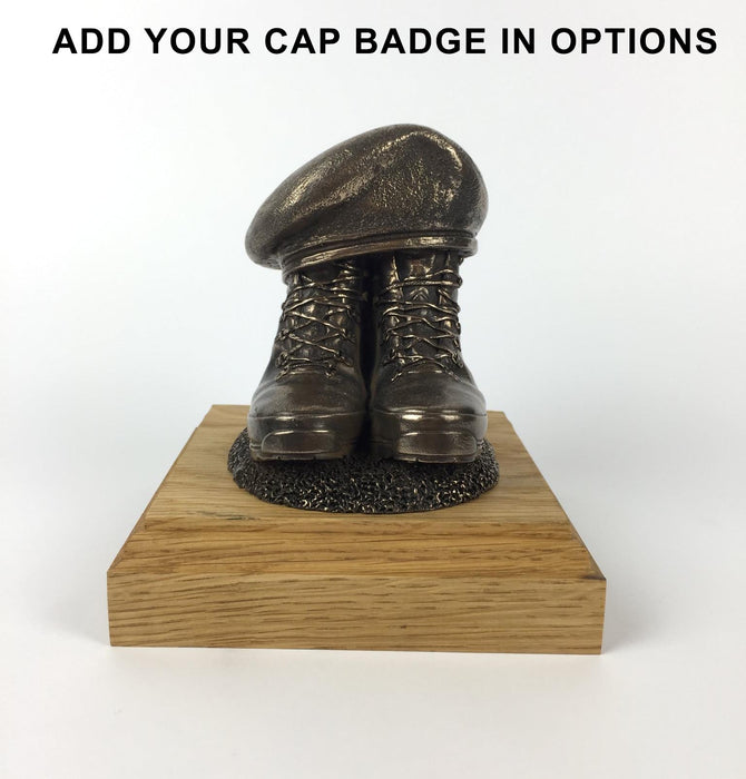 61a09ab63f0c7 BOOTS AND BERET Cold Cast Bronze Statue (Add a Cap-badge and Engraving)