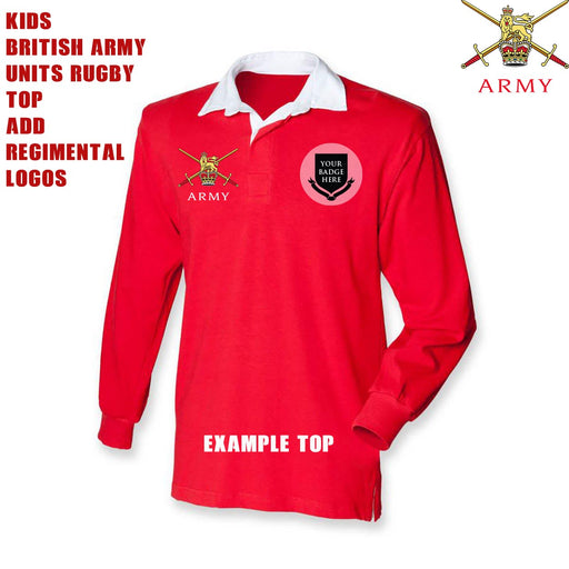 Kids British Army Units Classic Rugby Shirt (Add your Unit Logo)