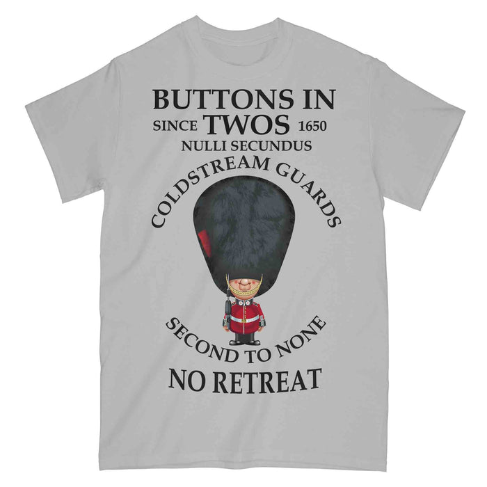 COLDSTREAM GUARDS BUTTONS IN TWO'S Military Printed T-Shirt