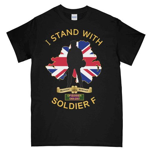 I STAND WITH SOLDIER F Printed T-Shirt (Royal Navy)