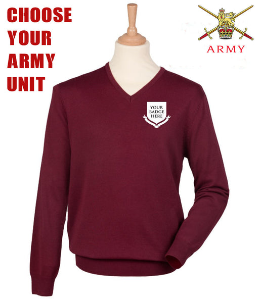British Army UNITS Regimental Lightweight V Neck Sweater