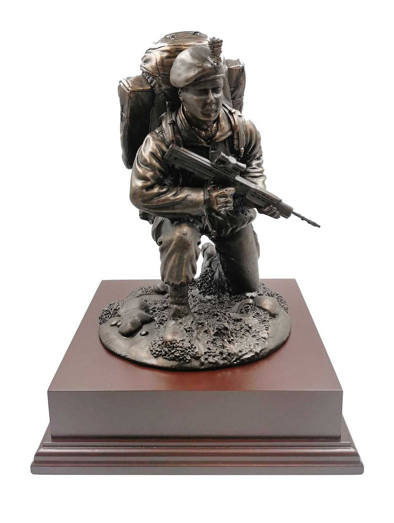 Kneeling British Fusilier Soldier With SA80 Cold Cast Bronze Statue