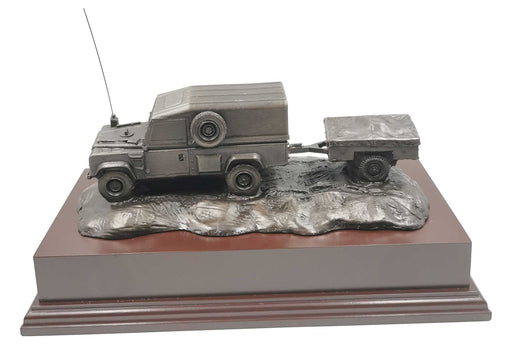 Land Rover Defender with Trailer Cold Cast Bronze Presentation
