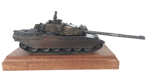 Military Statue - Challenger 1 Main Battle Tank Mahogany Mounted Cold Cast Bronze Statue