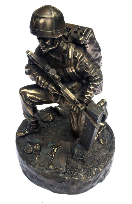 Military Statue - Kneeling Royal Signals Soldier Cold Cast Bronze Military Statue Sculpture