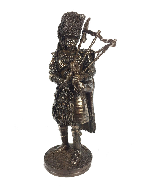 Military Statue - Royal Regiment Of Scotland Piper Cold Cast Bronze Military Statue