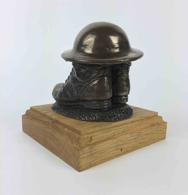 Military Statue - WW1 Tommy Boots Tin Hat Cold Cast Bronze Statue