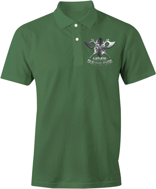 NEVER SURRENDER Embroidered Polo Shirt