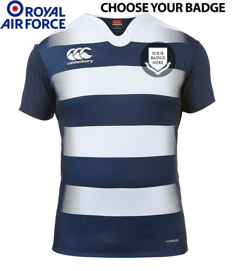 RAF UNITS Canterbury Hooped Rugby Shirt - Choose Your Unit Badge