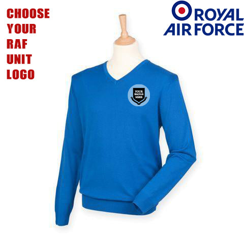 RAF UNITS Lightweight V Neck Sweater (Choose your unit Logo)