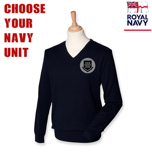 Royal Navy UNITS Lightweight V Neck Sweater (Choose your Navy Logo)