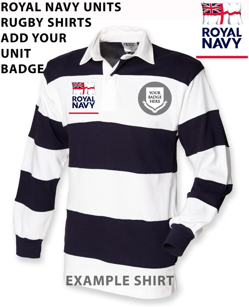ROYAL NAVY UNITS Stripe Rugby Shirt - ADD YOUR NAVAL UNIT