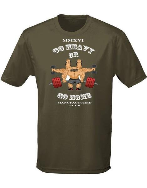 T-Shirts - Fat Chimp 'Go Heavy Or Go Home' Sports T-Shirt