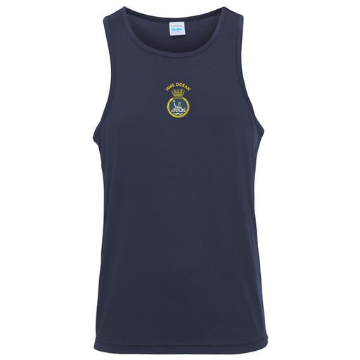 T-Shirts - HMS Ocean Embroidered Sports Vest
