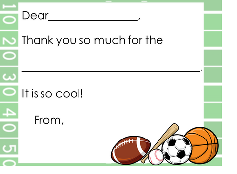 Fill-in-the-Blank Thank You Notes - Football Field w/ Sports
