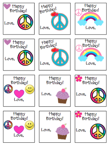 Personalized Peace & Rainbows Gift Stickers