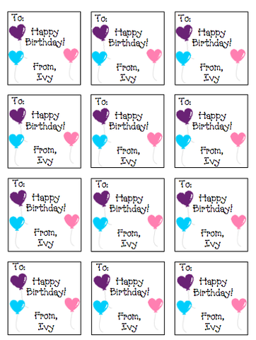 Personalized Balloon Hearts Gift Stickers