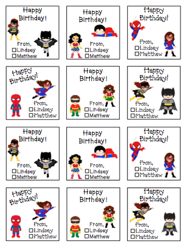 Personalized Super Hero Siblings Gift Stickers