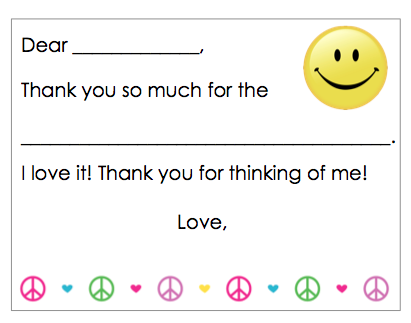Fill-in-the-Blank Thank You Notes - Peace & Smile