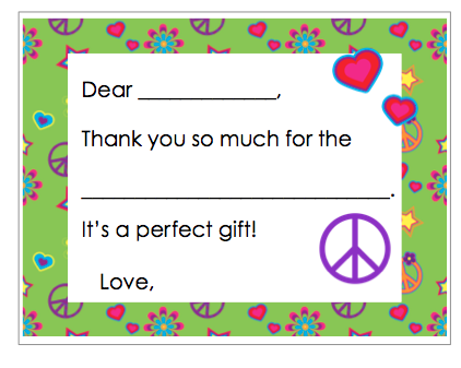 Fill-in-the-Blank Thank You Notes - Green Peace Border