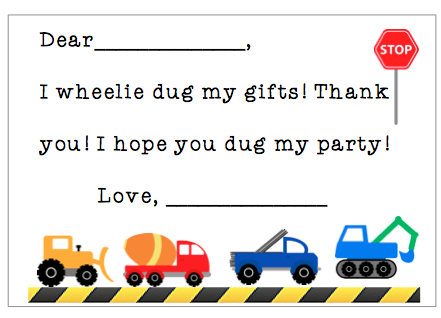 Fill-in-the-Blank Thank You Notes - Trucks