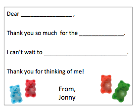 Fill-in-the-Blank Thank You Notes - Gummy Bears