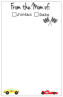 Personalized 'From the Mom of' Race Cars Notepad