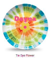 Personalized Plate - Tie Dye Flower