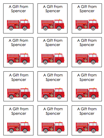Personalized Fire Truck Gift Stickers
