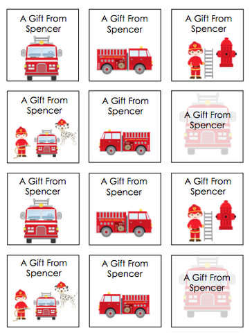 Personalized Fire Truck Variety Gift Stickers