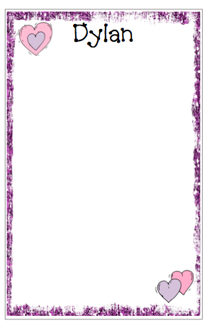 Personalized Purple Glitter Border Notepad w/Hearts
