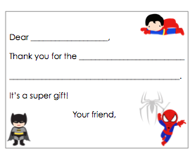 Fill-in-the-Blank Thank You Notes - Superhero