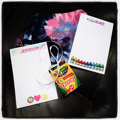 Personalized Notepads w/ Tie Dye Case & Crayons