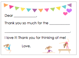 Fill-in-the-Blank Thank You Notes - Gymnastics