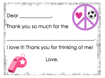 Fill-in-the-Blank Thank You Notes - Pink Soccer