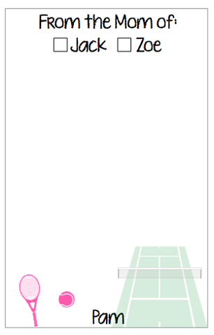 Personalized Tennis Notepad V2