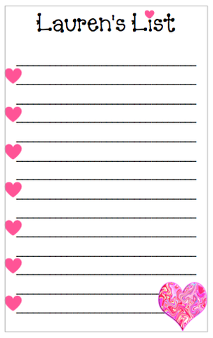 Personalized List w/ Hearts Notepad V2