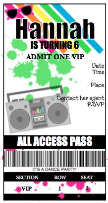 Invitation - Dance Party Ticket V2